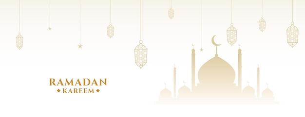Desenho de banner islâmico tradicional branco ramadan kareem