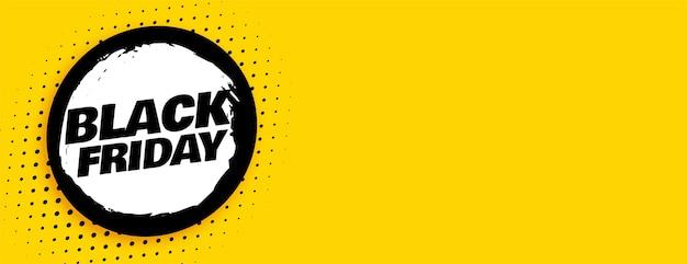 Desenho de banner largo abstrato preto sexta-feira amarela
