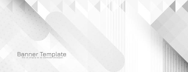 Desenho de banner moderno em cinza e branco geométrico brilhante