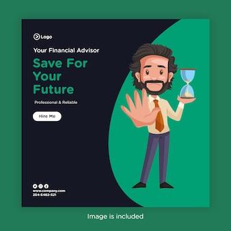 Desenho de banner para salvar o seu futuro com consultor financeiro segurando um cronômetro de ampulheta na mão