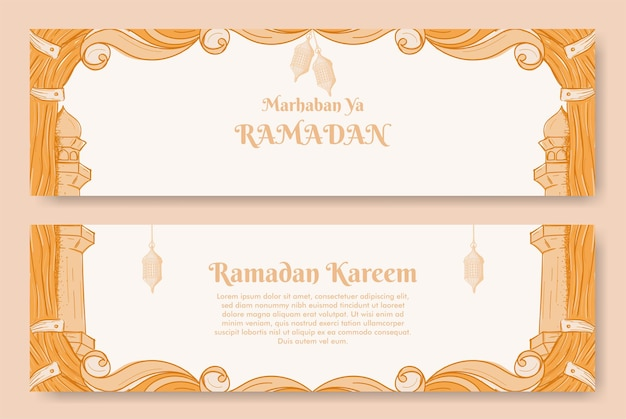 Desenho de banner ramadan kareem com ilustração desenhada à mão de ornamento islâmico