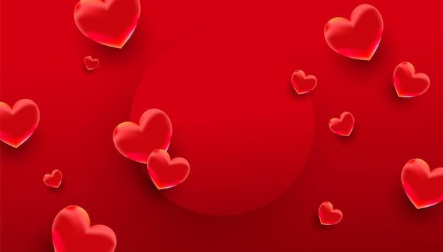 Desenho de banner romântico com corações vermelhos e moldura circular
