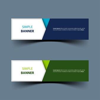 Desenho de banner simples com cores azul e verde