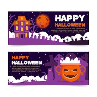 Desenho de banners do festival de halloween