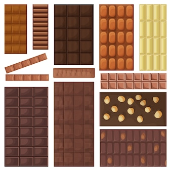 Desenho de barra de chocolate definir ícone. ilustração sobremesa doce no fundo branco. desenhos animados definir ícone barra de chocolate.