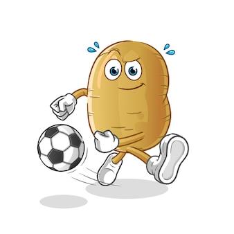 Desenho de batata chutando a bola
