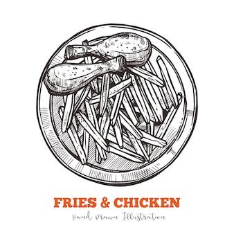 Desenho de batatas fritas e coxas de frango