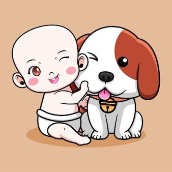 Desenho de bebê fofo com cachorrinho