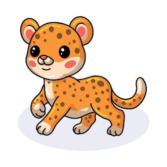Desenho de bebê leopardo fofo e feliz