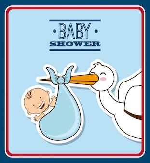 Desenho de bebê sobre ilustração vetorial de fundo azul