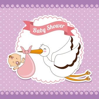Desenho de bebê sobre ilustração vetorial de fundo roxo