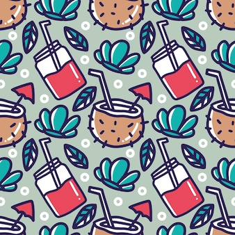 Desenho de bebida desenhada à mão no feriado do havaí com ícones e elementos de design
