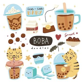 Desenho de bebida e chá com leite e açúcar mascavo colorido fofo