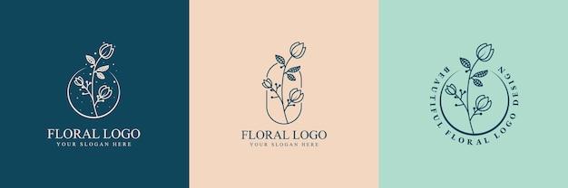 Desenho de beleza feminina e logotipo floral botânico