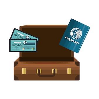 Desenho de bilhetes de passaporte de mala dos desenhos animados isolado
