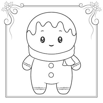 Desenho de biscoito de gengibre fofo feliz natal com lenço para colorir