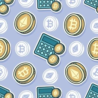 Desenho de bitcoin e ethereum de padrão uniforme