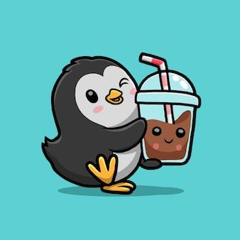 Desenho de boba de chá de pinguim bonito bebendo leite.