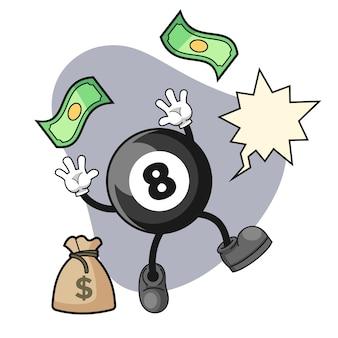 Desenho de bola de bilhar feliz enquanto pegava dinheiro caindo do céu