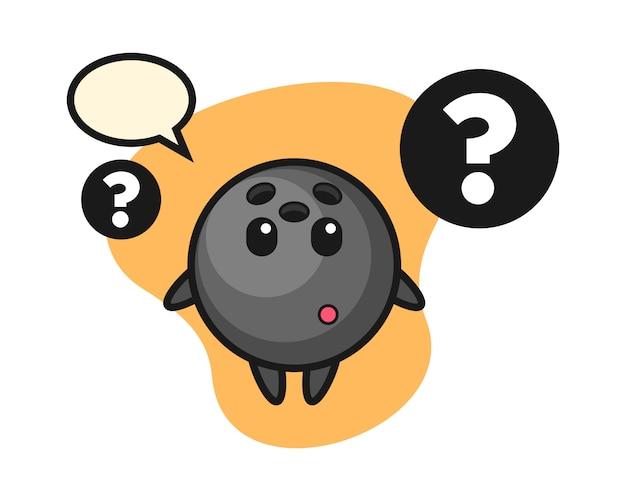 Desenho de bola de boliche com o ponto de interrogação