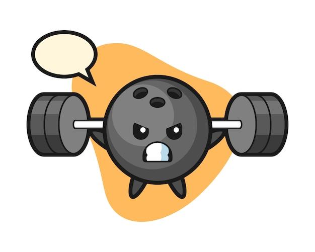 Desenho de bola de boliche com um barbell
