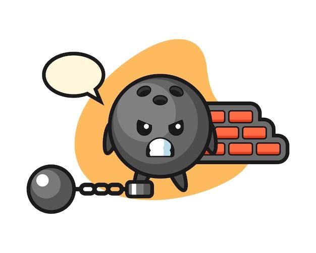 Desenho de bola de boliche como prisioneiro