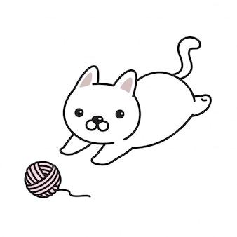 Desenho de bola de fio de gatinho de vetor de gato