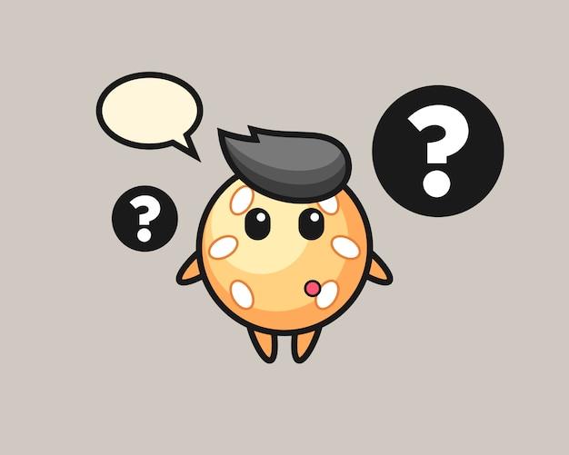 Desenho de bola de gergelim com o ponto de interrogação