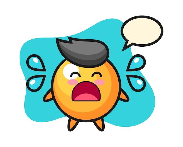 Desenho de bola de ping pong com gesto a chorar