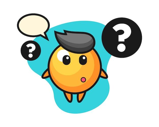 Desenho de bola de ping pong com o ponto de interrogação
