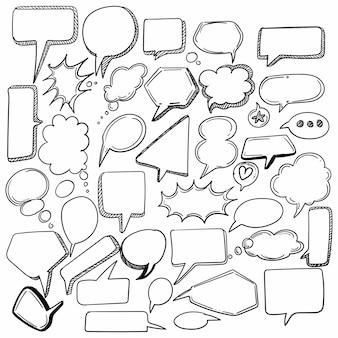 Desenho de bolha de discurso de esboço desenhado à mão