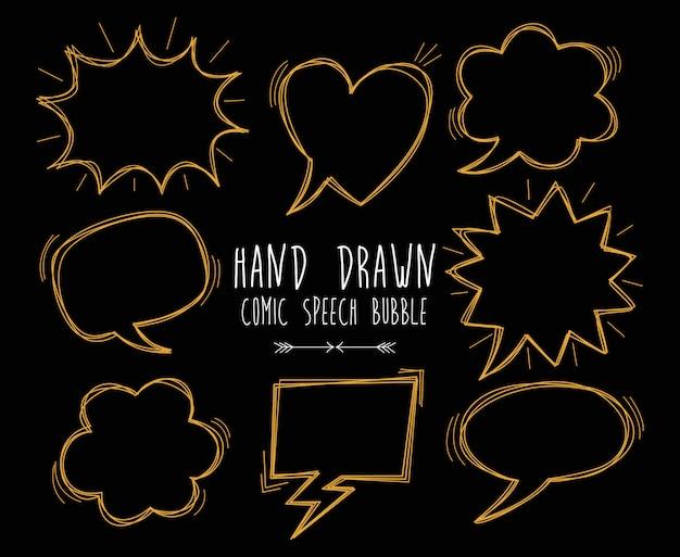 Desenho de bolha do discurso em quadrinhos mão desenhada em fundo preto