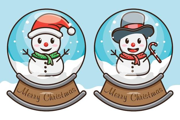 Desenho de boneco de neve de natal fofo em ilustração vetorial de design de globo de bola de neve