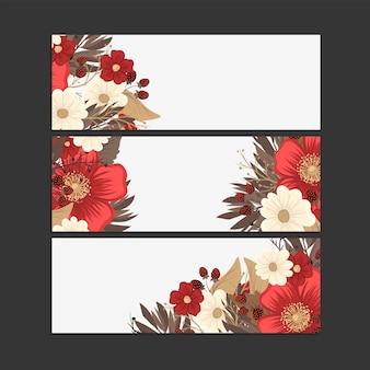 Desenho de borda de flor - conjunto de quadro vermelho