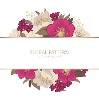 Desenho de borda de flor - flor rosa quente