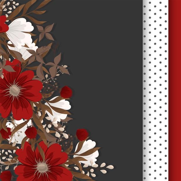 Desenho de borda de flor - moldura vermelha