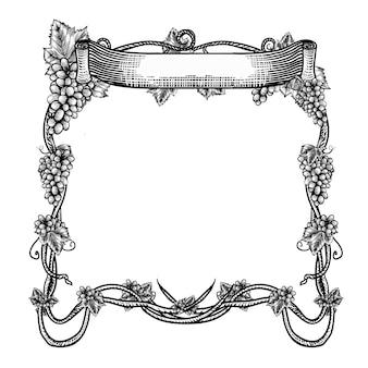 Desenho de brannding de uva para produto desenhado à mão com fita na parte superior premium vector