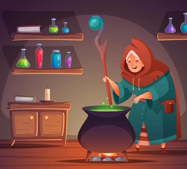 Desenho de bruxa medieval com poção e ingredientes na ilustração de garrafas,
