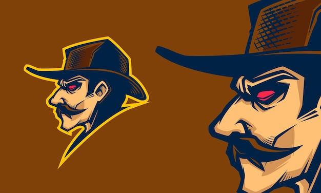 Desenho de cabeça de caubói mascote ilustração em vetor premium