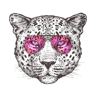 Desenho de cabeça de leopardo com óculos de sol Vetor Premium