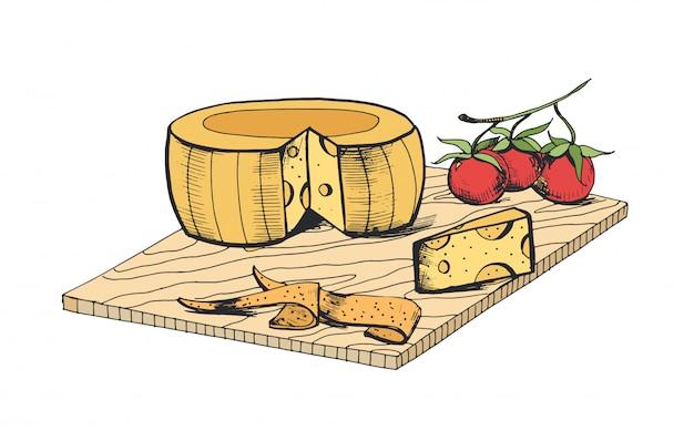 Desenho de cabeça de queijo, pedaço, fatias e tomate cereja, deitado na tábua de madeira
