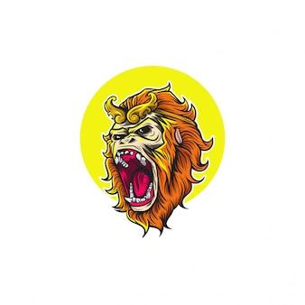 Desenho de cabeça de rei de macaco