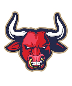 Desenho de cabeça de touro vermelho