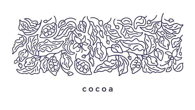 Desenho de cacau art line pattern planta abstrata simplesmente deixa flor grão ilustração gráfica
