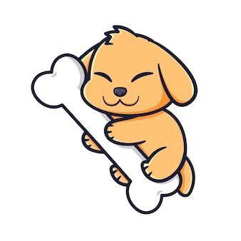 Desenho de cachorro fofo com ossos