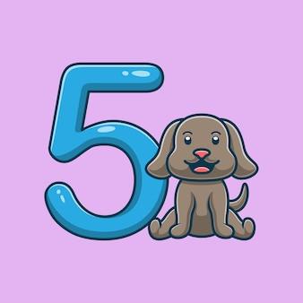 Desenho de cachorro fofo pelo número 5
