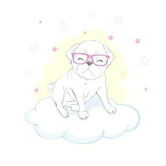 Desenho de cachorro pug em uma nuvem