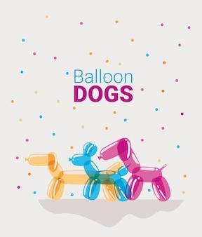 Desenho de cachorros de balões