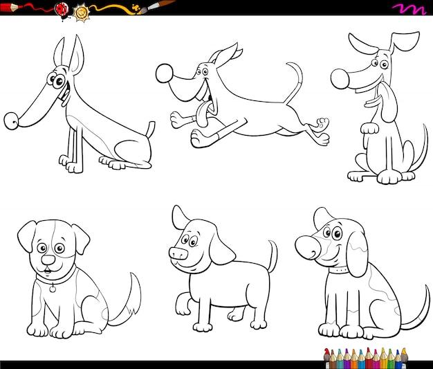 Desenho de cães e filhotes para colorir página de livro