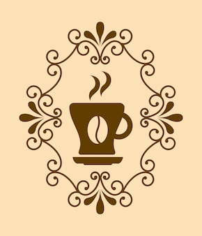 Desenho de café sobre ilustração vetorial de fundo rosa